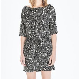 Zara printed fabric dress with gathered hip